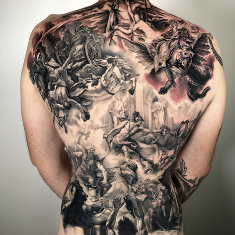 religious back-job tattoo by Marshall at Third Eye Tattoo Melbourne