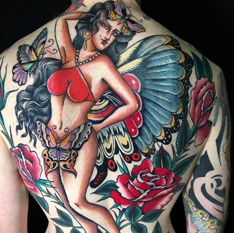 traditional back-job tattoo by Nick Rutherford at Third Eye