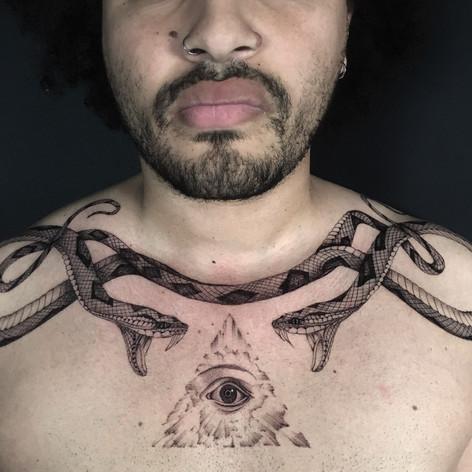 fineline dotwork chest piece tattoo by Daniel Snoeks at Third Eye Tattoo
