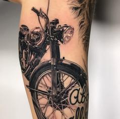bike tattoo by Marshall at Third Eye Tattoo Melbourne