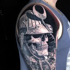 Japanese Samurai skull and helmet half sleeve tattoo by Marshall at Third Eye Tattoo Melbourne
