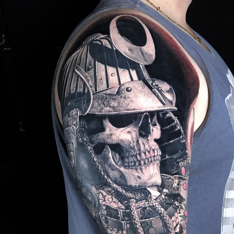 Japanese Samurai skull and helmet half sleeve tattoo by Marshall at Third Eye Tattoo Melbourne