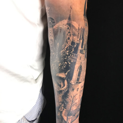 castle tattoo by Marshall at Third Eye Tattoo Melbourne