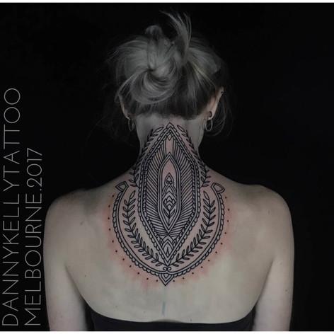 mandala neck tattoo by Danny Kelly at Third Eye Tattoo Melbourne