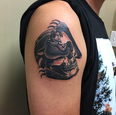 awesome panther skull tattooo by Bugsy at Third Eye Tattoo Melbourne