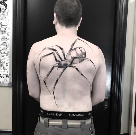 spider tattooo by Bugsy at Third Eye Tattoo Melbourne