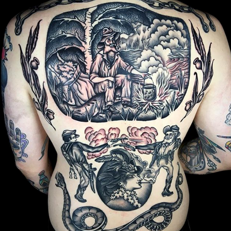 blackwork back-job tattoo by Nick Rutherford at Third Eye