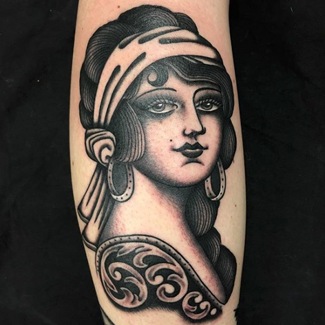 blackwork lady walk-in tattoo by Nick Rutherford at Third Eye