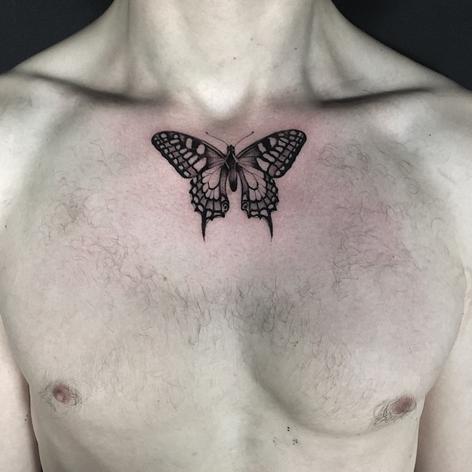 fineline butterfly tattoo by Daniel Snoeks at Third Eye Tattoo