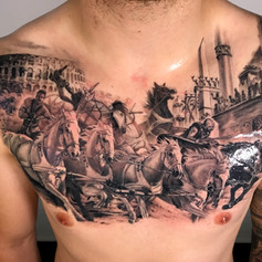 roman chest tattoo by Marshall at Third Eye Tattoo Melbourne