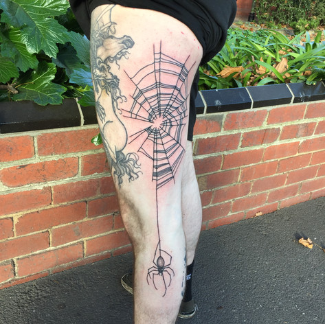 spider and web full leg tattooo by Bugsy at Third Eye Tattoo Melbourne