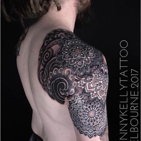 mandala sleeve tattoo by Danny Kelly at Third Eye Tattoo Melbourne