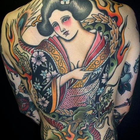 traditional geisha back-job tattoo by Nick Rutherford at Third Eye