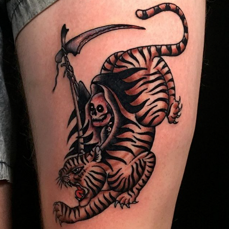 old skool reaper tiger tattoo by Oliver Chistenson at Third Eye