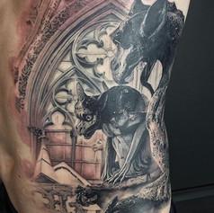 gargoyle tattoo by Marshall at Third Eye Tattoo Melbourne