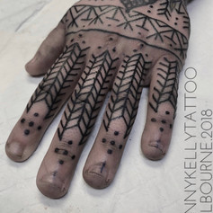 geometric finger tattoo by Danny Kelly at Third Eye Tattoo Melbourne