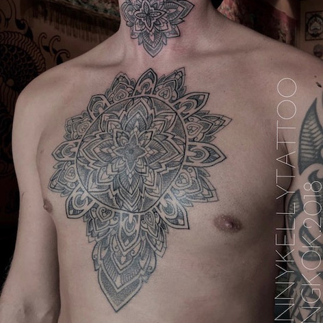 large chest and neck mandala tattoo by Danny Kelly at Third Eye Tattoo Melbourne