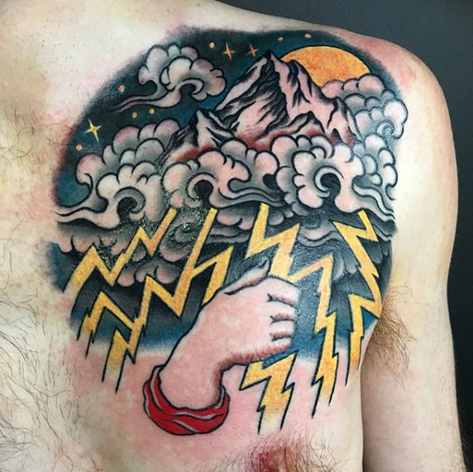 old skool clouds walk-in tattoo by Nick Rutherford at Third Eye