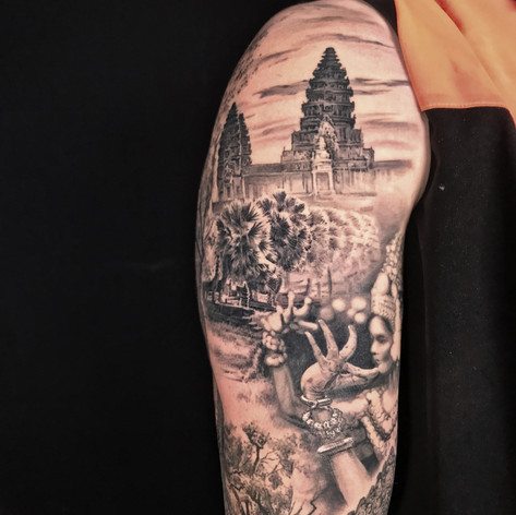 Thia temple sleeve tattoo by Marshall at Third Eye Tattoo Melbourne