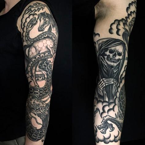 blackwork sleeve tattoo by Nick Rutherford at Third Eye