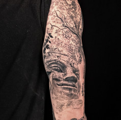 ancient statue sleeve tattoo by Marshall at Third Eye Tattoo Melbourne