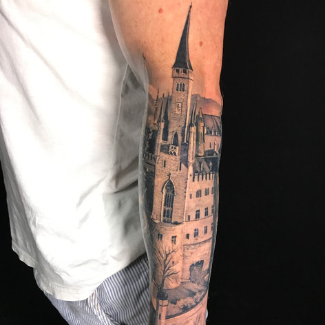 realism castle tattoo by Marshall at Third Eye Tattoo Melbourne
