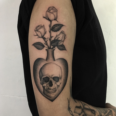 dotwork skull and rose tattoo by Daniel Snoeks at Third Eye Tattoo