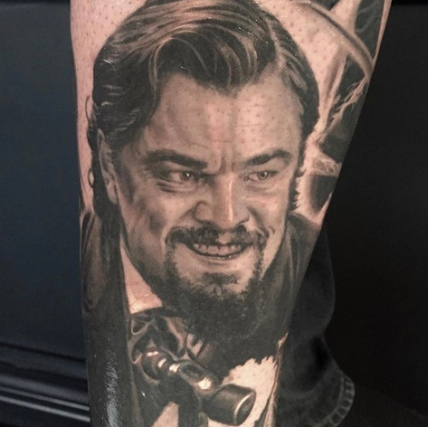 Leo Decaprio portraite tattoo by Marshall at Third Eye Tattoo Melbourne