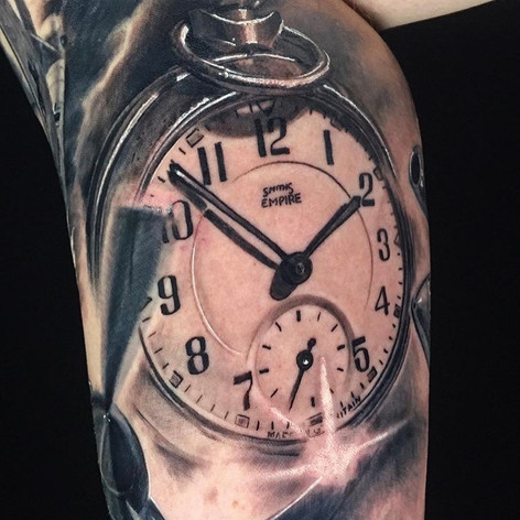clock sleeve tattoo by Marshall at Third Eye Tattoo Melbourne
