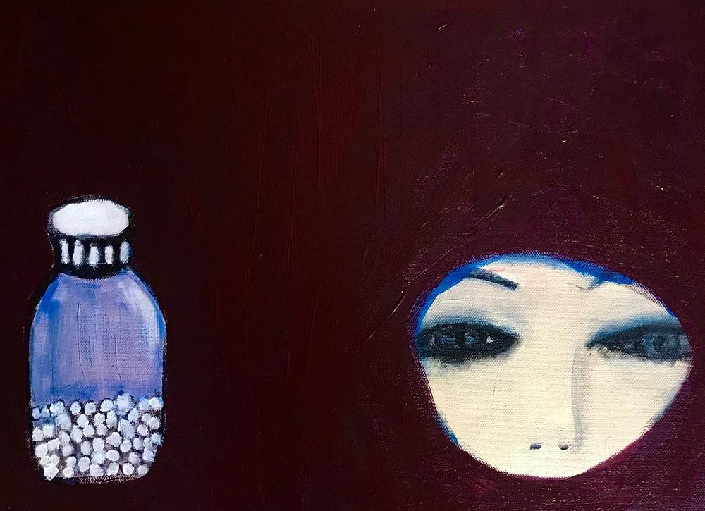 Absract art pill bottle and face