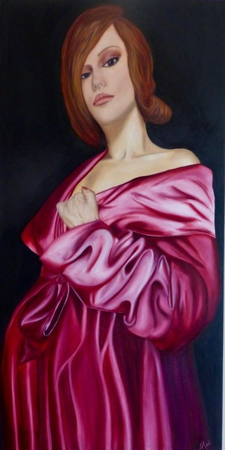 painting of woman in night gown