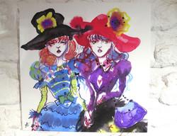 Pair girls print on canvas
