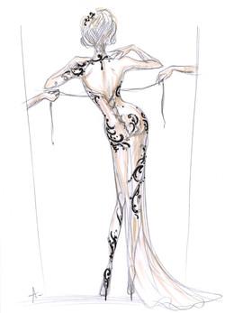 Clotilde Courau - Flesh & Lace dress