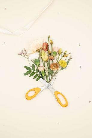 Rosariumin kukkakurssi, jossa lyhennetään saksilla kukkien varsia.