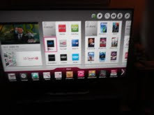 smart TV with app selection pages