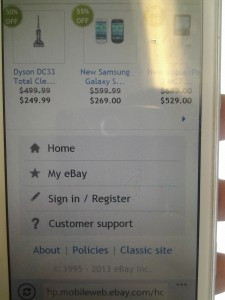 eBay mobile view