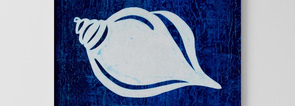 """Golden Spiral en Bleu 12""""x12"""" Mixed Media Painting Unframed"""