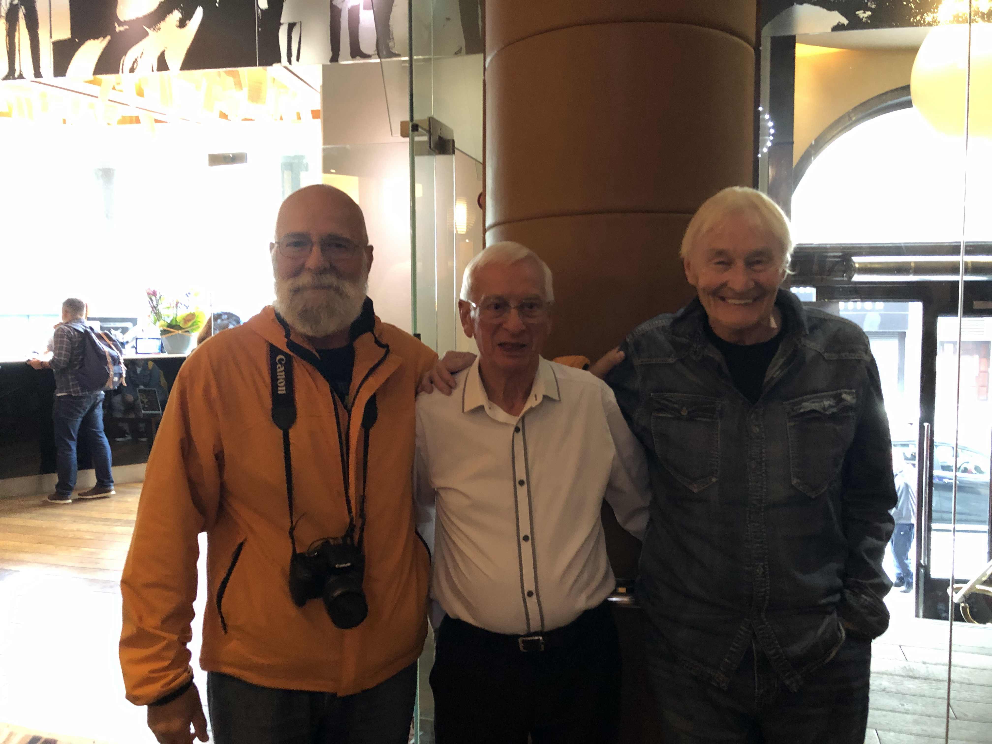 Original Quarrymen, Colin Hanton & Len Garry with Beatles Tour fan