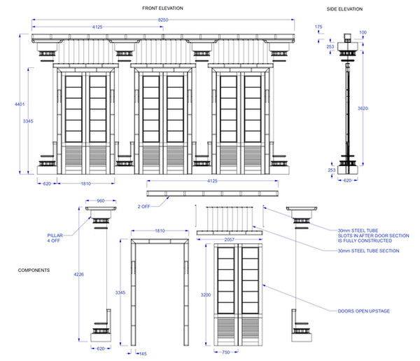When The Crows Visit Theatre Set Technical Drawing