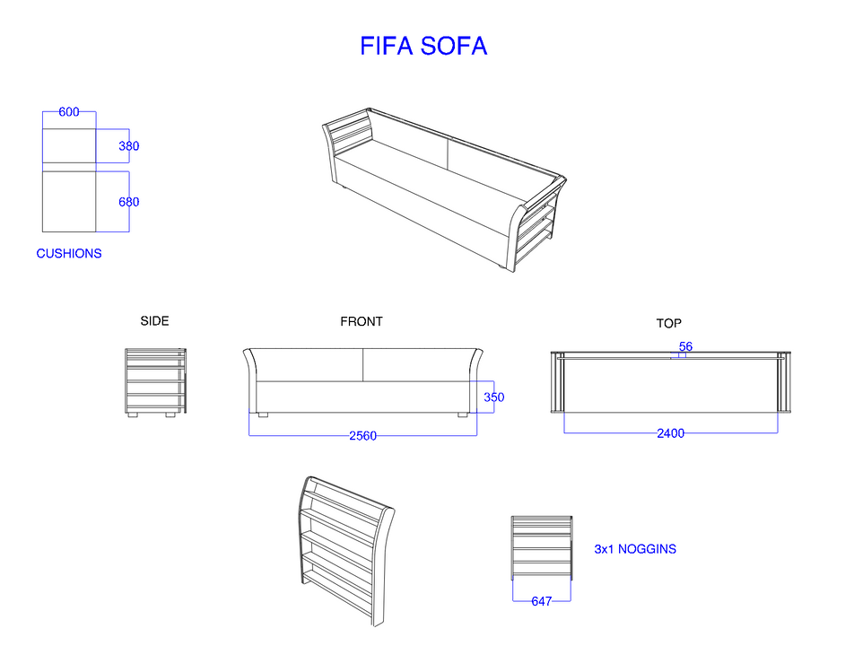 Amazon-Twitch Event FIFA Sofa Construction