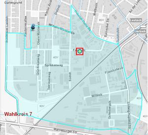 Das Wahllokal der blau markierten Straßenzüge befindet sich in der Fabrikstraße 21