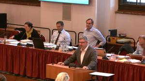 Ortsvorsteher Denis Achtner bringt den Änderungsantrag ein.