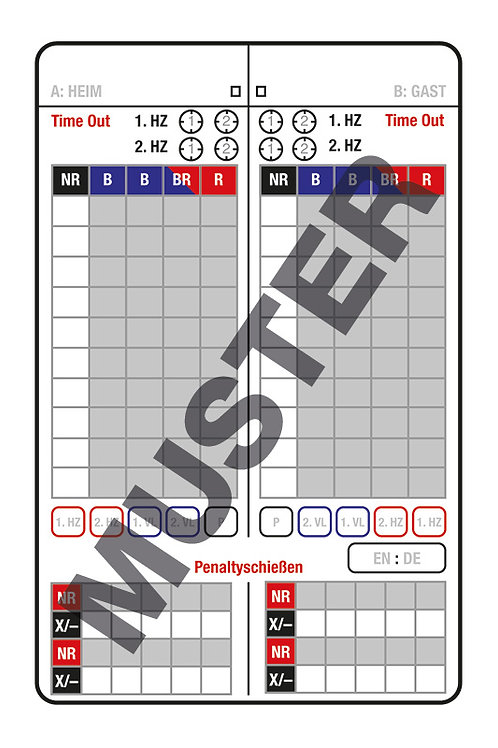 Rollhockey Schiedsrichter-Notizkarte, 100 Stück