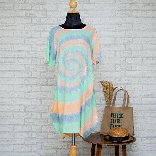 ชุดแซคยาว 2 กระเป๋า แขนสั้น  ชุดเดรส เสื้อผ้าแฟชั่นผู้หญิง FREE SIZE