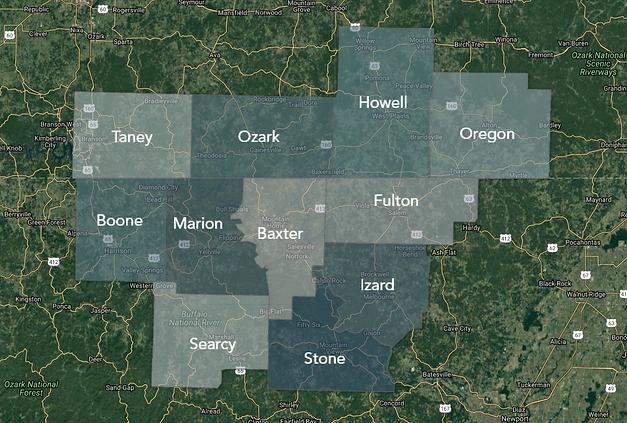 Missouri & Arkansas Home Inspection, County Service Map