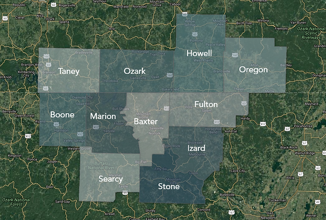 Missouri & Arkansas Home Inspection, County Service Map
