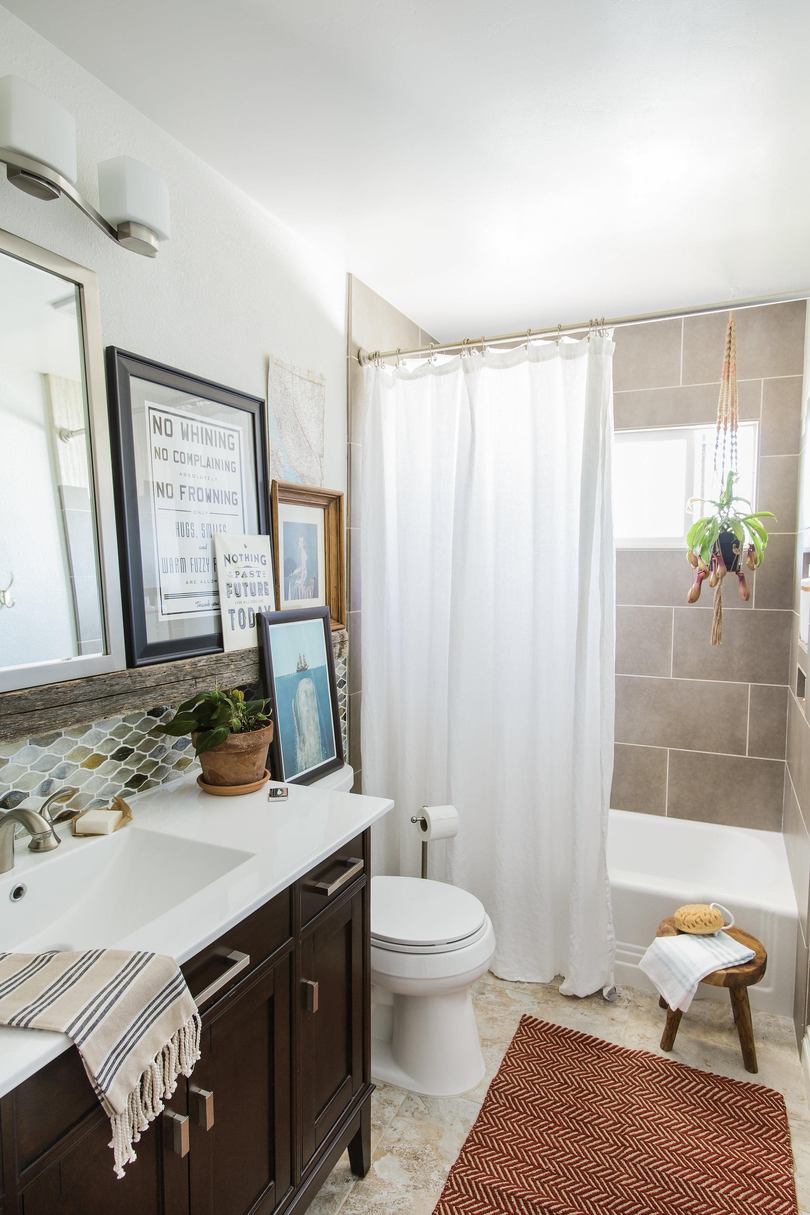 Earth Tone Small Bathroom Remodel
