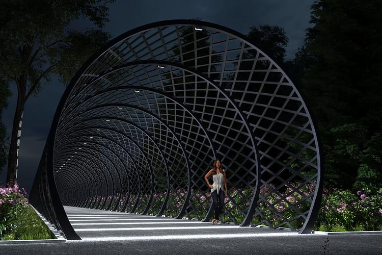 Освещение садовой арки наружными светильниками CERTUS Lighting