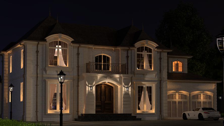 Освещение многоэтажного здания фасадными светильниками для подсветки зданий CERTUS Lighting