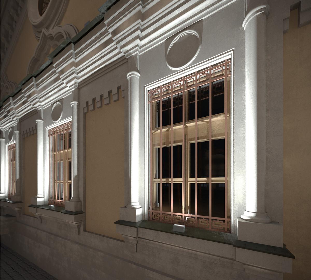 Фасадное освещение проект для общественного здания CERTUS Lighting